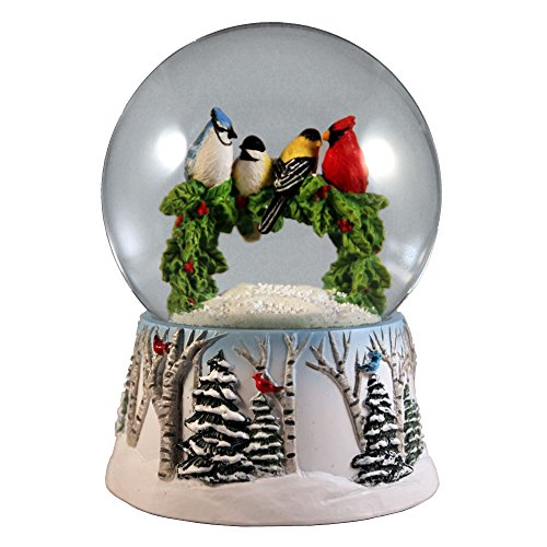 Multi Birds on a Wreath Water Globe San Francisco Music Box