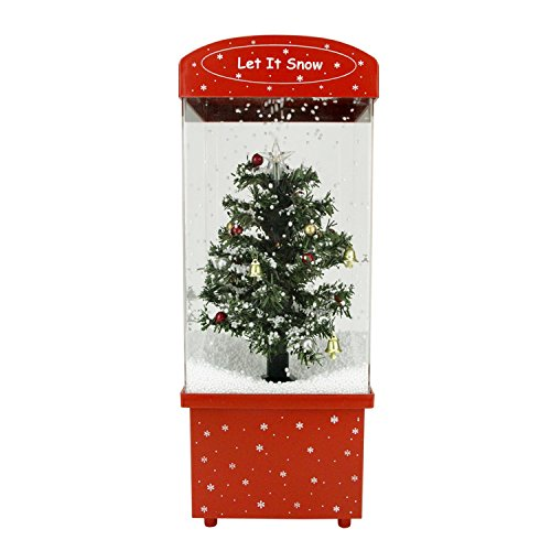 "Northlight 16.25″ Lighted Musical ""Let it Snow"" Christmas Tree Snow Globe Glitterdome"