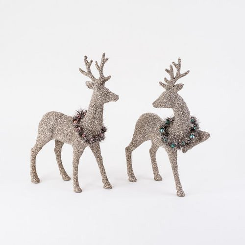 Glitter Deer with Wreaths Set of 2
