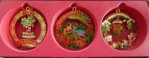 Hawaiian Festive Holiday 3-Pack Collectible Metal Christmas Ornaments by Island Heritage