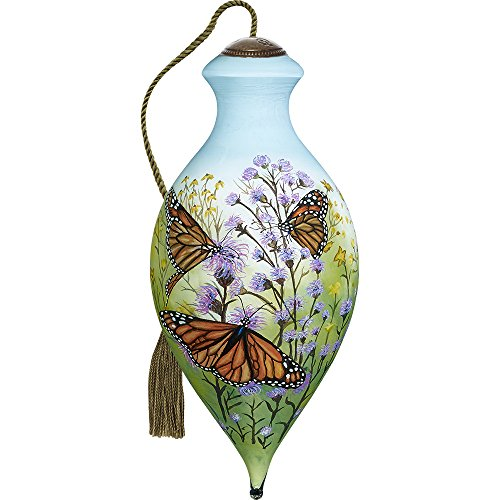 Precious Moments, Ne'Qwa Art 7171164 Hand Painted Blown Glass Standard Brilliant Shaped Monarch Butterflies Ornament, 6.5-inches