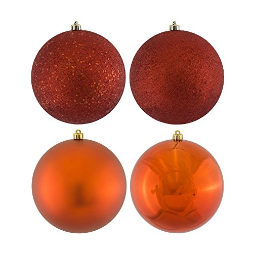Vickerman 4-Finish Assorted Plastic Ornament Set & Seamless Shatterproof Christmas Ball Ornaments, Assorted 16 per Box, 3″, Copper