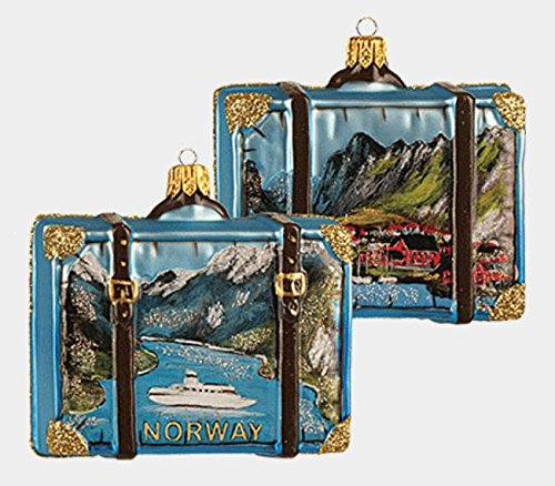 Norway Travel Suitcase Polish Blown Glass Christmas Ornament Tree Decoration