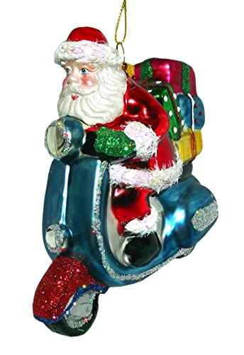 Santa Blue Scooter Ornament