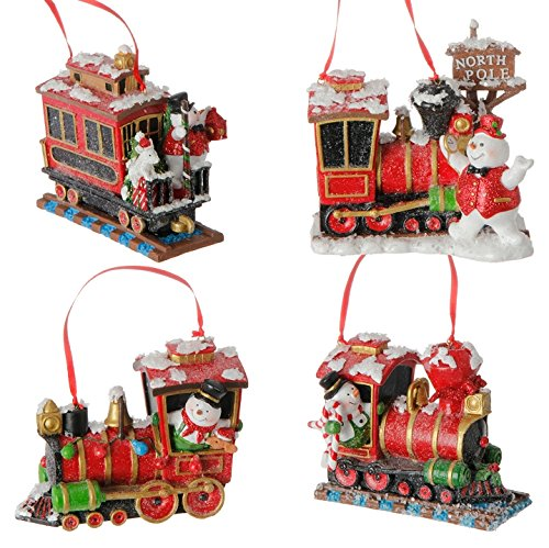 RAZ Imports 4.5 Snowman With Train Ornaments (Set of Four)