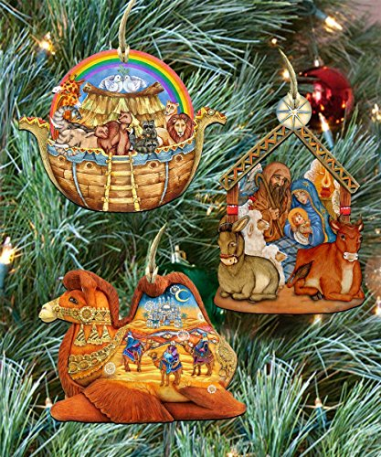 Story of Nativity Holiday Keepsake Wooden Ornaments Set of 3 8100022S3
