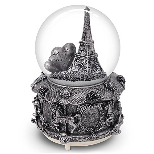 Paris Snow Globe with Color Changing LED Lights, Eiffel Tower Musical Snow Globe with Merry-go-round Base, 6 Inches Tall Souvenirs Collection