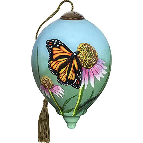 Precious Moments, Ne'Qwa Art 7171163 Hand Painted Blown Glass Petite Princess Shaped Monarch Butterfly Ornament, 3-inches