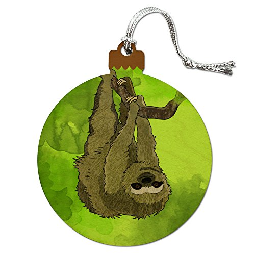 Sloth Watercolor Wood Christmas Tree Holiday Ornament
