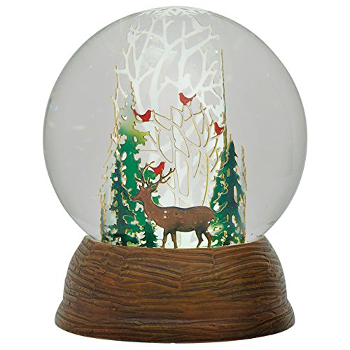 Roman LED Papercut Winter Deer and Cardinals in Forest Snow Globe Dome, 5.5″
