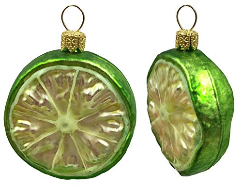 Slice of Lime Citrus Fruit Polish Glass Christmas Tree Ornament Food Set of 2