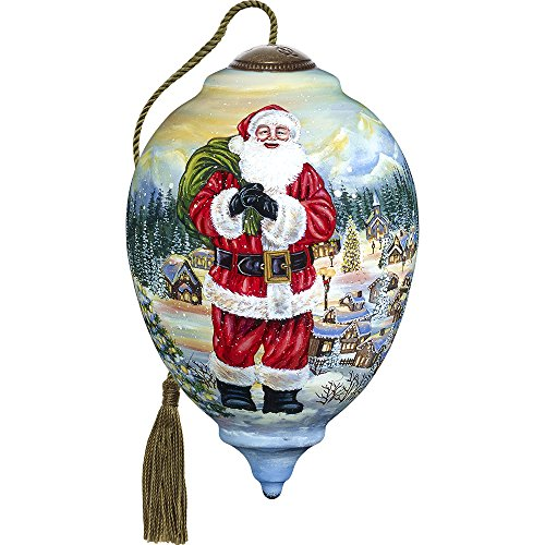 Precious Moments, Ne'Qwa Art 7171117 Hand Painted Blown Glass Santa Claus is Coming to Town Ornament Limited Edition Princess Shaped, 5.5-inches