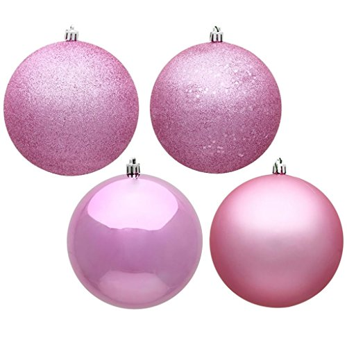 Vickerman 490624 – 3″ Pink 4 Assorted Finish Ball Christmas Tree Ornament (set of 32) (N596879A)