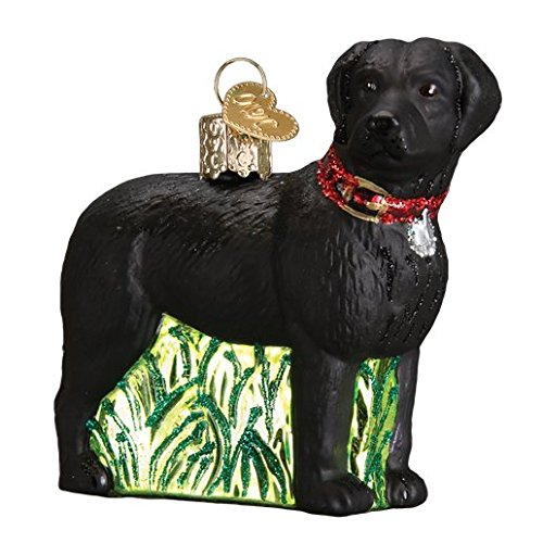 Old World Christmas Standing Black Lab Glass Blown Ornament