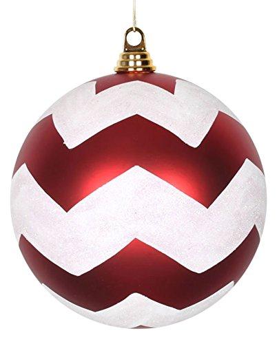 Vickerman Chevron Matte Finish Glitter Accented Shatterproof Christmas Ball Ornament, 8″, Red/White