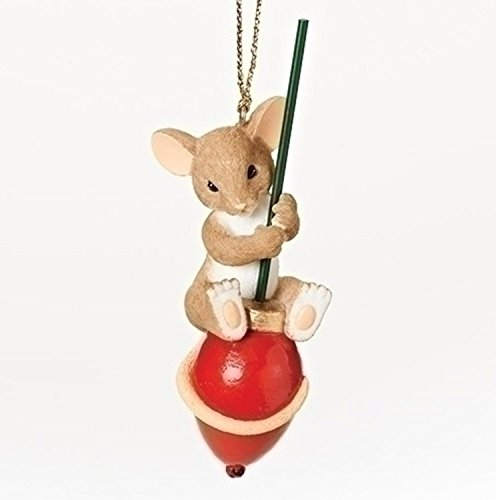 """3.5″ Charming Tails """"You Make the Season Brighter"""" Mouse on a Red Light Bulb Christmas Ornament"""