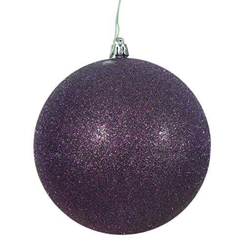 Vickerman N591526DG Glitter Ball Ornaments with Shatterproof UV Resistant, Pre-drilled cap Secured & green floral Wire in 4 per bag, 6″, Plum