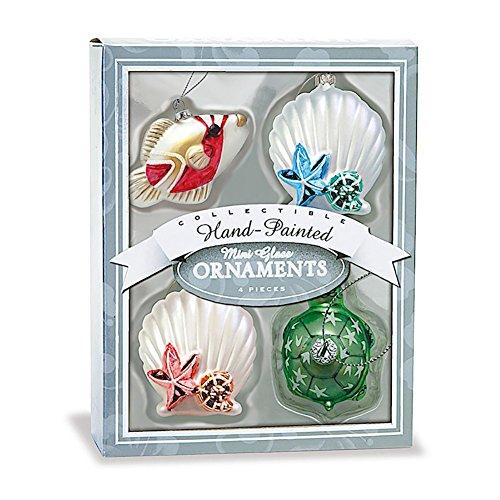 Glass Mini Ocean Holiday Hawaiian Ornaments Set Of 4
