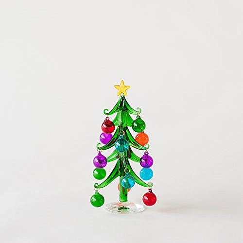 One Hundred 80 Degree Decorated Christmas Tree, Small, Glass, 7.5″