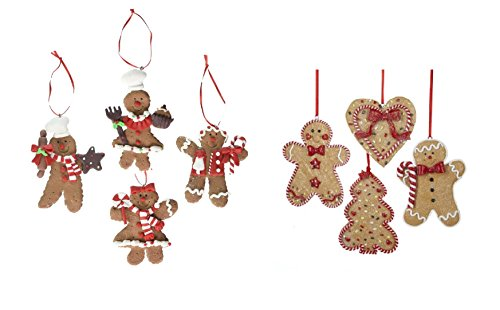 Kurt Adler Claydough Gingerbread Ornaments, Set of 8