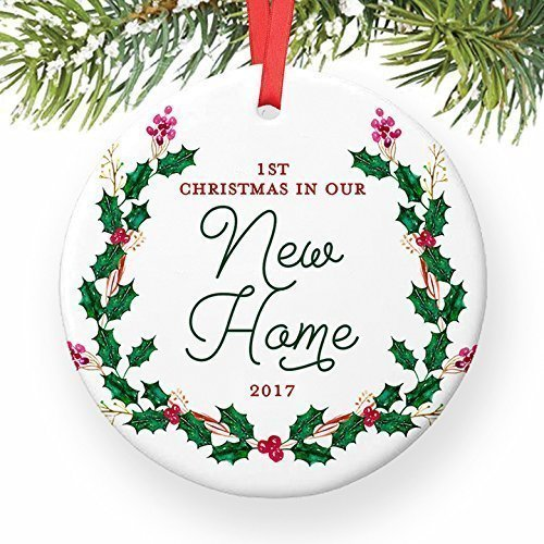 New House Ornament 2017, 1st Christmas in Our New Home Dated Year, First Homeowners Ceramic Present Congratulations Keepsake Real Estate Agent 3″ Flat Circle Porcelain with Red Ribbon & Free Gift Box