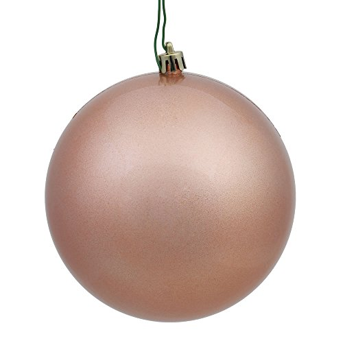 Vickerman N591558DCV Candy Ball Ornaments with Shatterproof UV Resistant, Pre-drilled cap Secured & green floral Wire in 4 per bag, 6″, Rose Gold