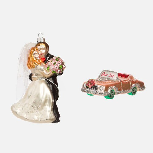 Wedding Convertible & Couple Ornament set of 2