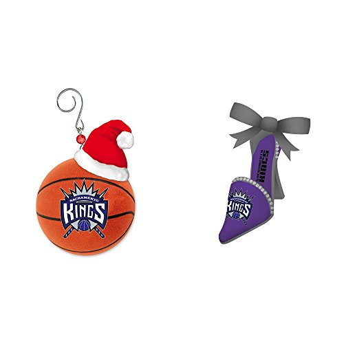 NBA Sacramento Kings Team Ball Christmas Ornament Shoe Bundle 2 Pack By Evergreen