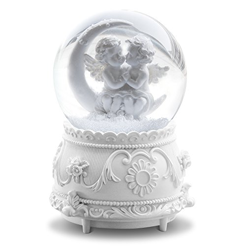 White Lover Angel Musical Snow Globes with Color Changing LED Lights, Perfect Home Decor Valentine's Birthday Gift