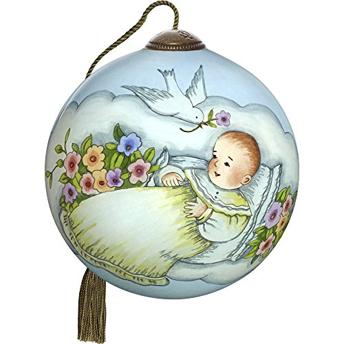 Precious Moments, Ne'Qwa Art 7171140 Hand Painted Blown Glass Petite Round Shaped Blessings For Baby Ornament, 2.5-inches