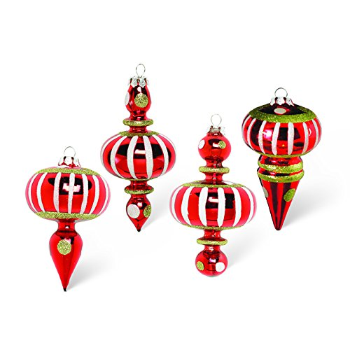 Red Whimsical Final Christmas Ornaments, Set of 4