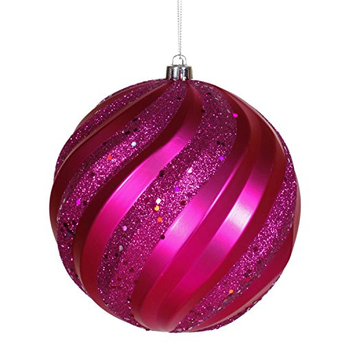 Vickerman Cerise Pink Glitter Swirl Shatterproof Christmas Ball Ornament 6″ (150mm)