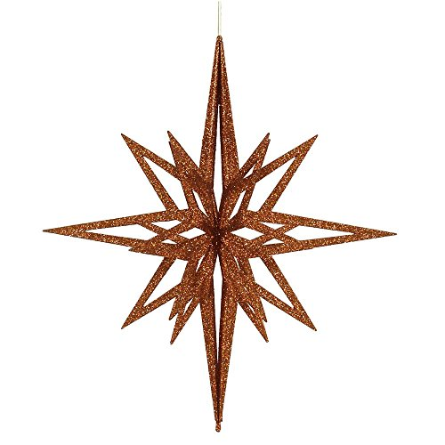Vickerman Glittered 3-D Star Shaped Christmas Ornament, 24″, Copper
