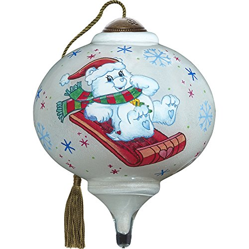Precious Moments, Ne'Qwa Art 7171112 Hand Painted Blown Glass Petite Marquis Shaped Happy Holidays Care Bear Ornament, 3-inches