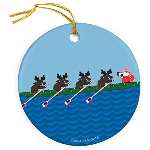 Row Row Row Merry Christmas Ornament | Crew Porcelain Ornaments by ChalkTalk SPORTS | Blue