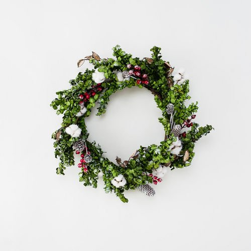 22″ Cotton and Berry Christmas Wreath with Pine Cones by 180 Degrees