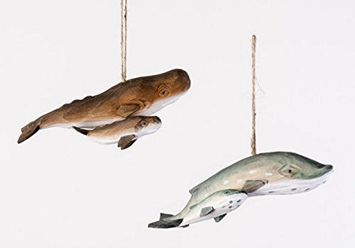 Two Assorted Hand Carved Fish Mother and Baby Ornaments – Whale and Dolphin
