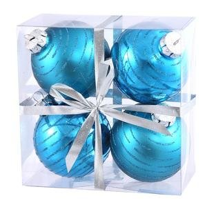 Vickerman Glitter Ball Assorted Ornaments, 3-Inch, Turquoise, 4-Pack