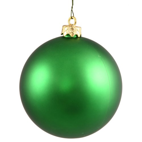 Vickerman Matte Finish Seamless Shatterproof Christmas Ball Ornament, UV Resistant with Drilled Cap, 12 per Bag, 3″, Emerald