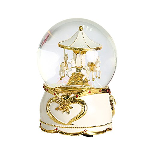 QTMY Spring Musical Snow Globes Ornament Wind Up Horse Music Boxes with Led Light Sequins Crystal Ball Merry-go-round Christmas Gift for Kids Girls
