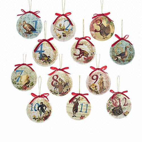 Kurt Adler T2264 85mm Decoupage Ball Ornament (Set of 12)