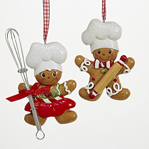 Kurt S. Adler Resin Gingerbread Boy And Girl Baker Christmas Ornaments Set of 2 Assorted