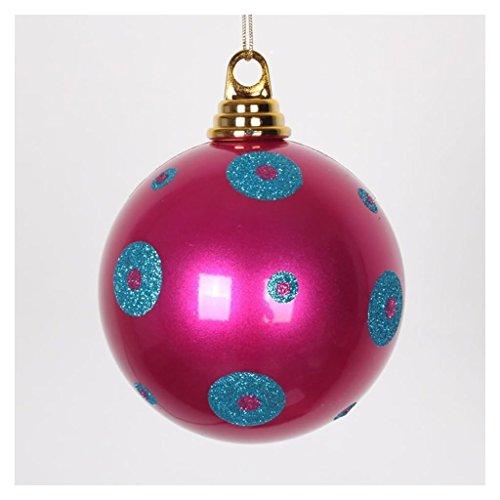 4″ Cerise-Turq Polka Dot Candy Ball 4/Bx