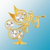 24K Gold Plated Flying Angel W/ Trumpet Free Standing – Clear – Swarovski Crystal