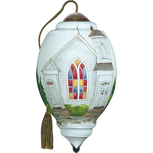 Precious Moments, Ne'Qwa Art 7171108 Hand Painted Blown Glass Petite Trillion Shaped Glory To God In The Highest Church Ornament, 3-inches