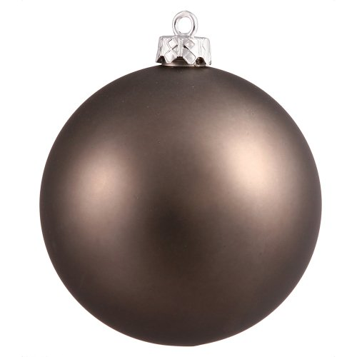 Vickerman Matte Finish Seamless Shatterproof Christmas Ball Ornament, UV Resistant with Drilled Cap, 4 per Bag, 4.75″, Pewter
