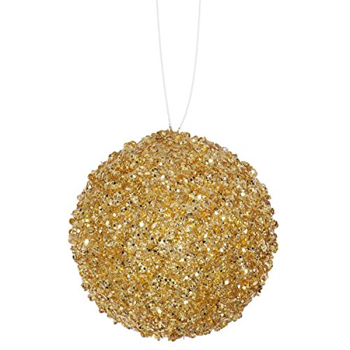 Vickerman 4ct Sparkling Gold Sequin and Glitter Drenched Christmas Ball Ornaments 4″ (100mm)