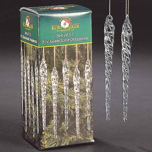 Kurt Adler 5-1/4-Inch Glass Icicle Ornament 24-Piece Box Set