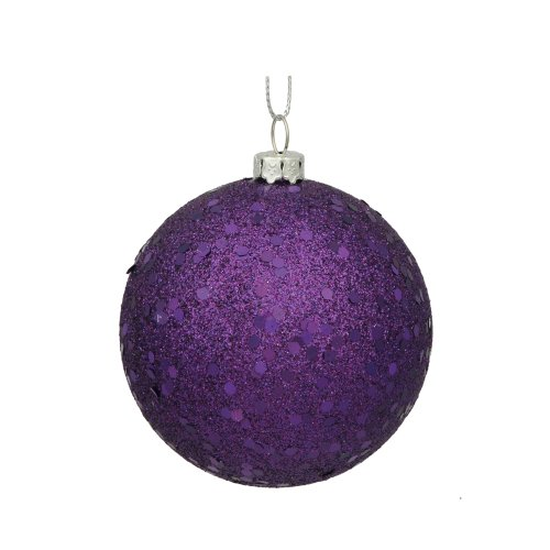 Vickerman Sequin Finish Christmas Ball Ornament Seamless Shatterproof with Drilled Cap, 4 per Bag, 6″, Purple