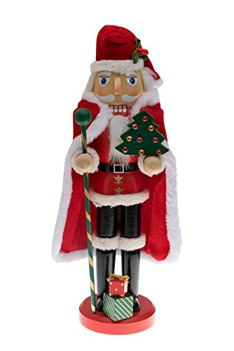 "Traditional Wooden Santa Claus Christmas Nutcracker by Clever Creations | Collectible Santa in Red Fur Trimmed Coat and Cape| Festive Holiday Décor | Holding Tree & Staff | 100% Wood | 13"" Tall"